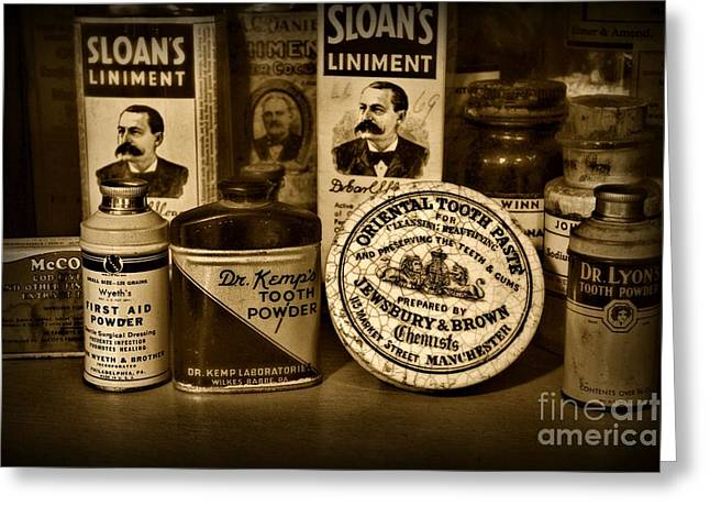 Liniment Greeting Cards - Dentist  -  Tooth Powder and More in black and white Greeting Card by Paul Ward