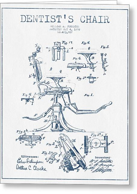 Technicians Greeting Cards - Dentist Chair Patent drawing from 1892 - Blue Ink Greeting Card by Aged Pixel