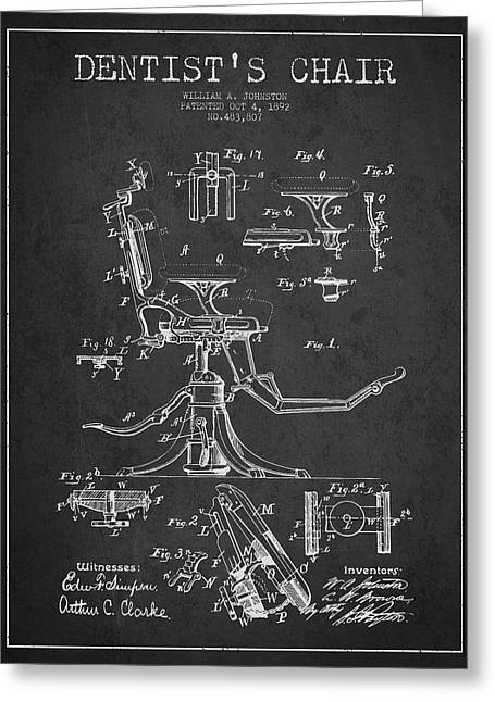 Technicians Greeting Cards - Dentist Chair Patent drawing from 1892 - Dark Greeting Card by Aged Pixel