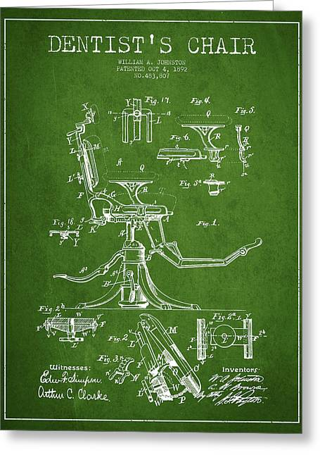 Medical Greeting Cards - Dentist Chair Patent drawing from 1892 - Green Greeting Card by Aged Pixel
