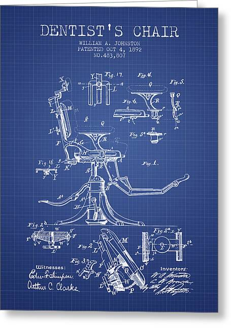 Technicians Greeting Cards - Dentist Chair Patent from 1892 - Blueprint Greeting Card by Aged Pixel