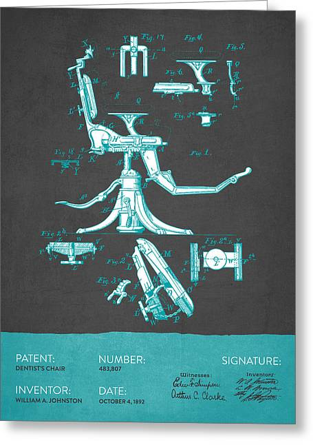 Technicians Greeting Cards - Dentist Chair Patent from 1892 - Gray Turquoise Greeting Card by Aged Pixel