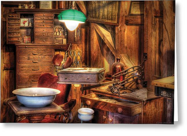 Wooden Bowl Greeting Cards - Dentist - In the Dentists Office Greeting Card by Mike Savad