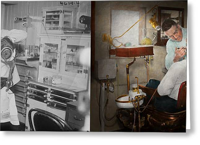 Periodontist Greeting Cards - Dentist - The dental examination - 1943 - Side by side Greeting Card by Mike Savad