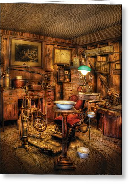 Interior Scene Greeting Cards - Dentist - The Dentist Office Greeting Card by Mike Savad