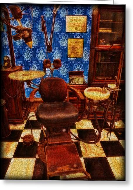 Family Time Greeting Cards - Dentist - Victorian Dentist Office Greeting Card by Lee Dos Santos