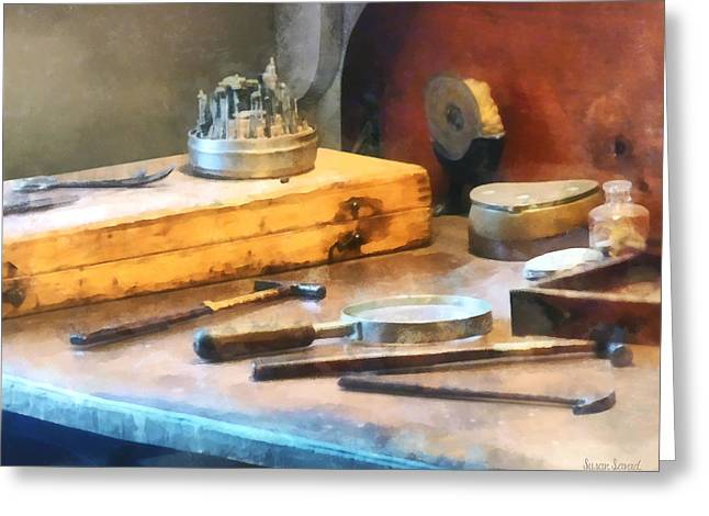 Prosthodontist Greeting Cards - Dentist Workbench Greeting Card by Susan Savad