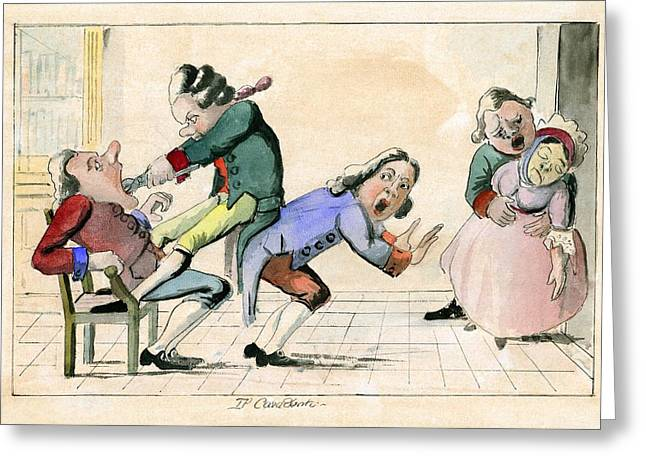 Procedures Greeting Cards - Dentistry caricature, 18th century Greeting Card by Science Photo Library