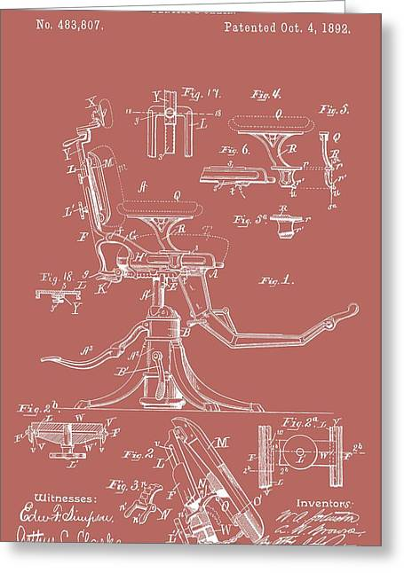 Repaired Digital Art Greeting Cards - Dentists Chair Patent Greeting Card by Dan Sproul
