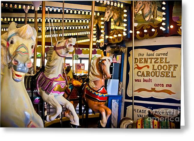 Nostalgic Sign Greeting Cards - Dentzel Looff Antique Carousel  Greeting Card by Colleen Kammerer