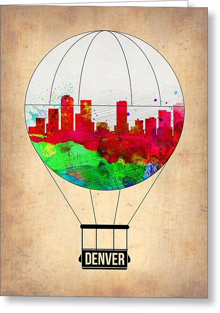 Denver Greeting Cards - Denver Air Balloon Greeting Card by Naxart Studio
