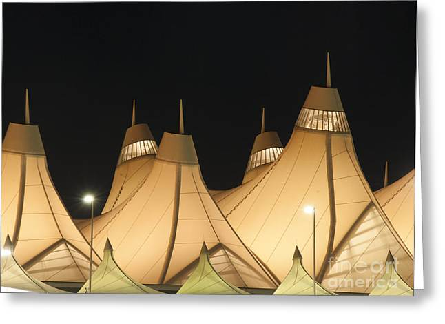 Airport Greeting Cards - Denver Airport at Night Greeting Card by Juli Scalzi