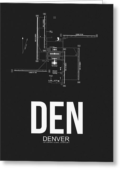 Town Mixed Media Greeting Cards - Denver Airport Poster 1 Greeting Card by Naxart Studio