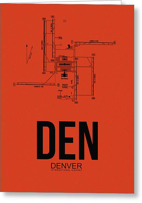 Colorado Greeting Cards - Denver Airport Poster 2 Greeting Card by Naxart Studio