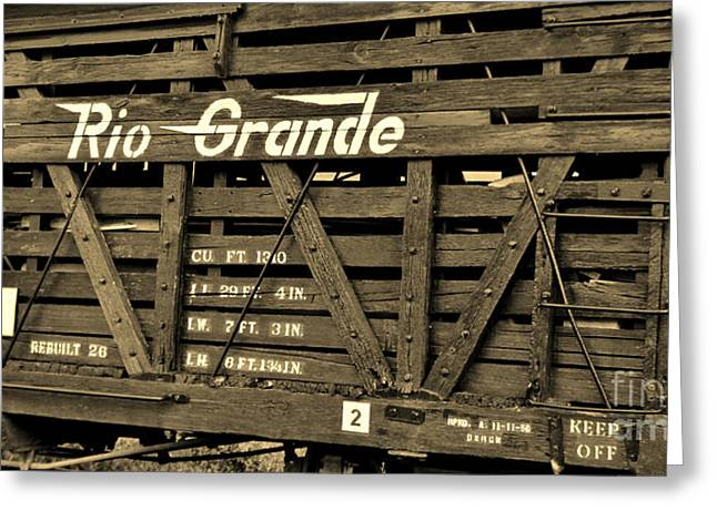 Wooden Train Print Greeting Cards - Denver and Rio Grande Western 5574 Greeting Card by Janice Rae Pariza