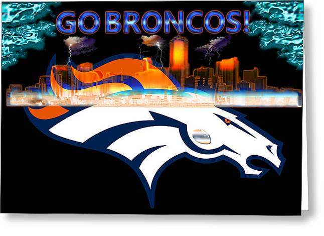 Elway Greeting Cards - Denver Broncos 3 Greeting Card by Becca Buecher