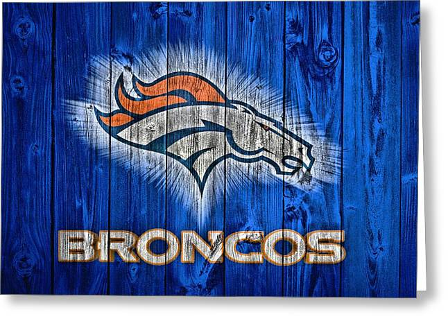 Denver Broncos Barn Door Greeting Card by Dan Sproul