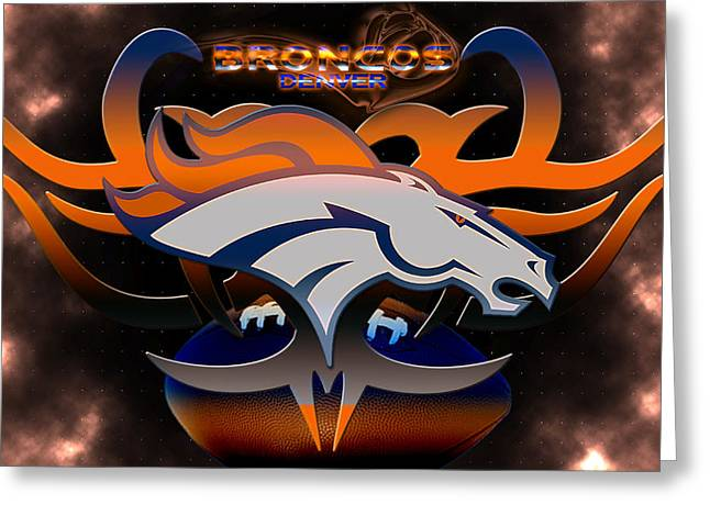 Elway Greeting Cards - Denver Broncos Greeting Card by Becca Buecher