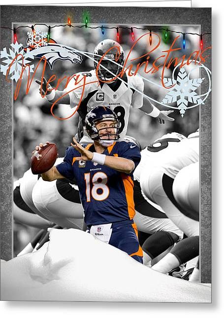 Broncos Greeting Cards - Denver Broncos Christmas Card Greeting Card by Joe Hamilton