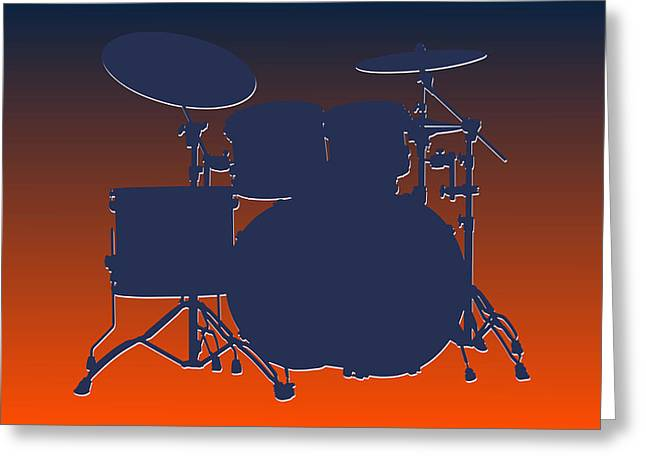 Drum Greeting Cards - Denver Broncos Drum Set Greeting Card by Joe Hamilton