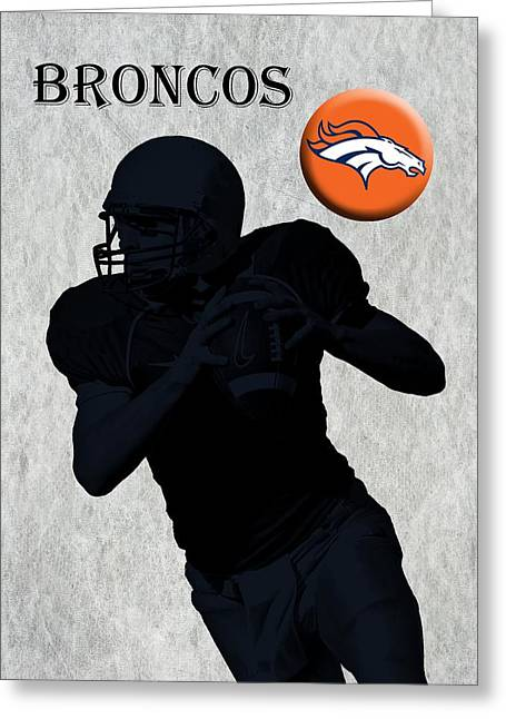 Pro Football Digital Greeting Cards - Denver Broncos Football Greeting Card by David Dehner