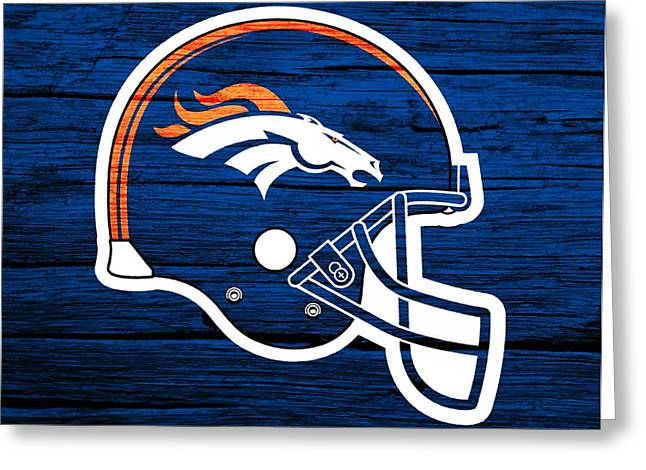 National Mixed Media Greeting Cards - Denver Broncos Football Helmet On Worn Wood Greeting Card by Dan Sproul