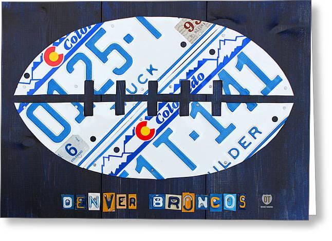 Denver Broncos Football License Plate Art Greeting Card by Design Turnpike