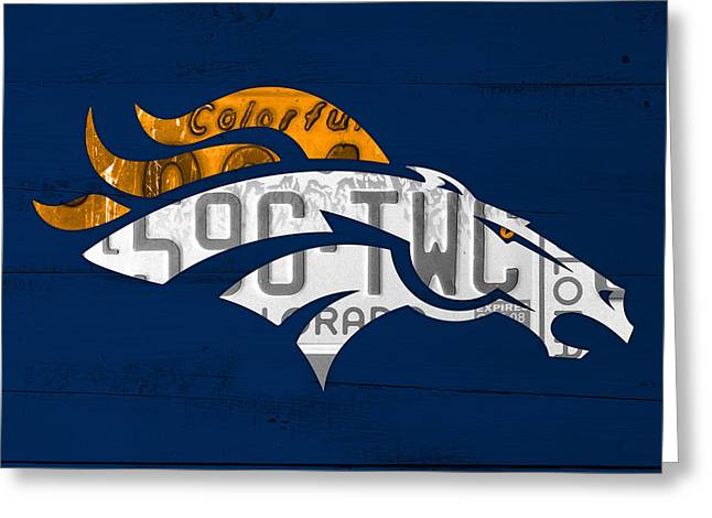 Broncos Greeting Cards - Denver Broncos Football Team Retro Logo Colorado License Plate Art Greeting Card by Design Turnpike