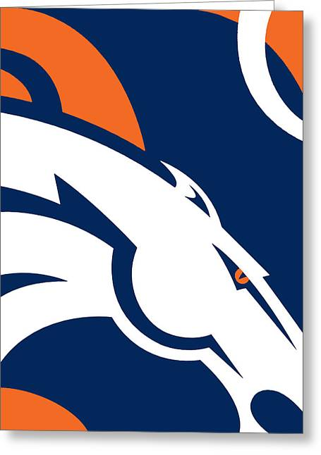 Action Sports Prints Greeting Cards - Denver Broncos Football Greeting Card by Tony Rubino