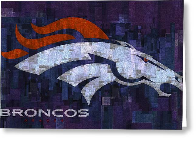 Denver Broncos Greeting Card by Jack Zulli