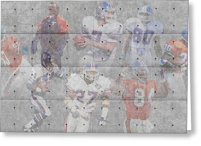 Offense Greeting Cards - Denver Broncos Legends Greeting Card by Joe Hamilton