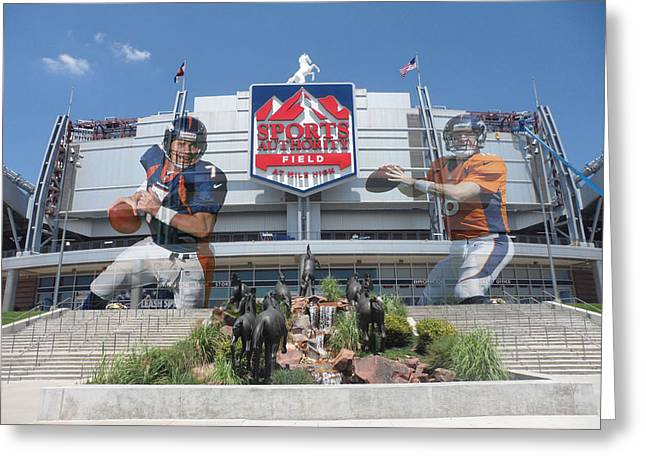 Elway Greeting Cards - Denver Broncos Sports Authority Field Greeting Card by Joe Hamilton