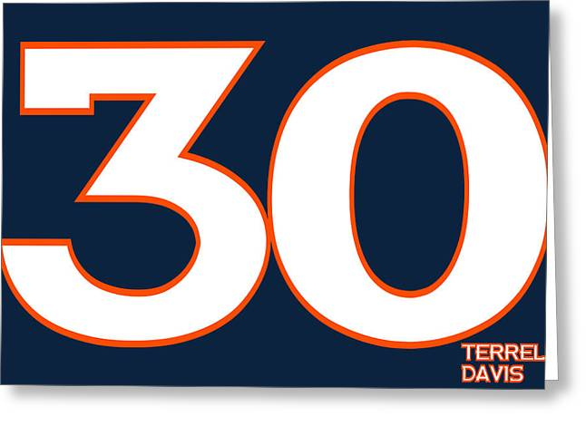 Broncos Greeting Cards - Denver Broncos Terrell Davis Greeting Card by Joe Hamilton