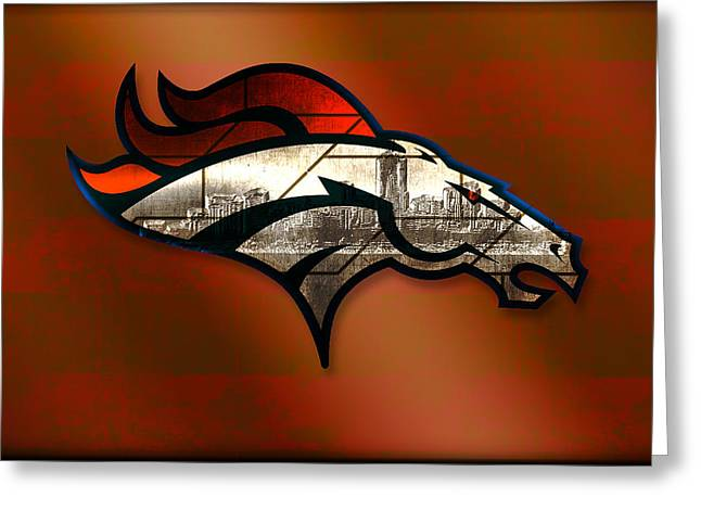 Elway Greeting Cards - Denver Broncos with Skyline 2 Greeting Card by Becca Buecher