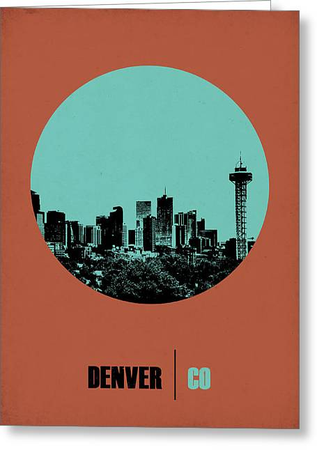 Denver Greeting Cards - Denver Circle Poster 1 Greeting Card by Naxart Studio