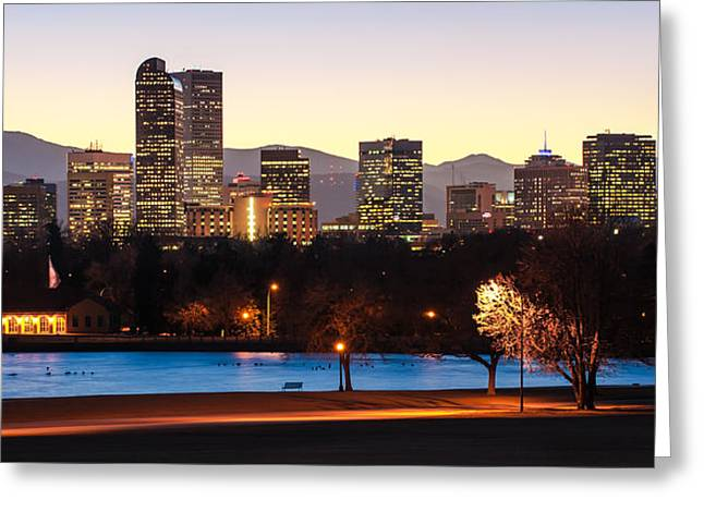 Recently Sold -  - Pond In Park Greeting Cards - Denver Colorado Skyline from City Park Greeting Card by Gregory Ballos