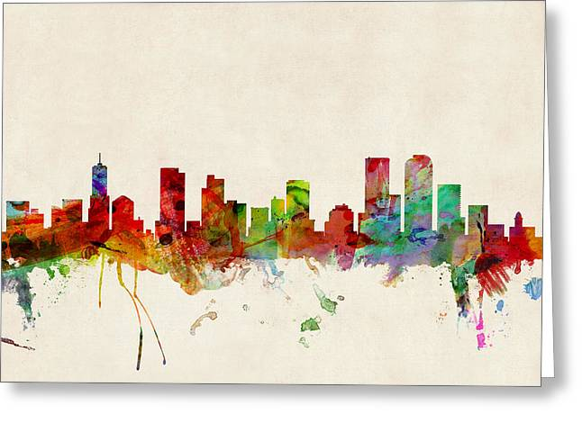 Urban Watercolour Greeting Cards - Denver Colorado Skyline Greeting Card by Michael Tompsett