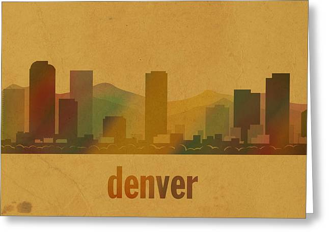 Denver Colorado Greeting Cards - Denver Colorado Skyline Watercolor On Parchment Greeting Card by Design Turnpike