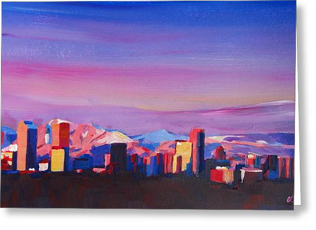 Recently Sold -  - Sunset Posters Greeting Cards - Denver Colorado Skyline with luminous Rocky Mountains Greeting Card by M Bleichner