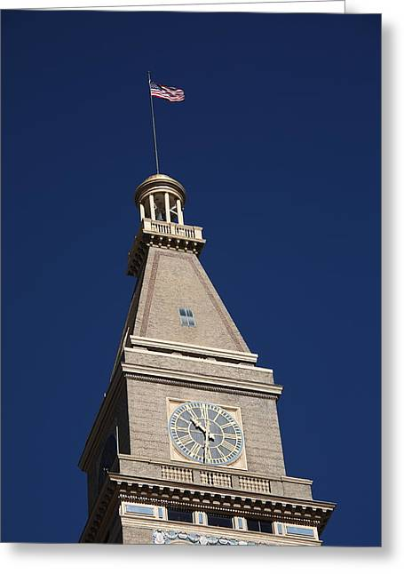 Clocktower Greeting Cards - Denver - Historic D and F Clocktower Greeting Card by Frank Romeo