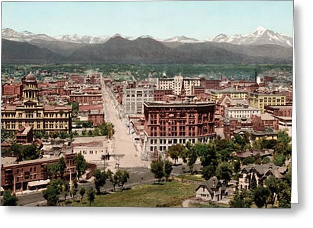1890s Greeting Cards - Denver in 1898 Greeting Card by Mountain Dreams