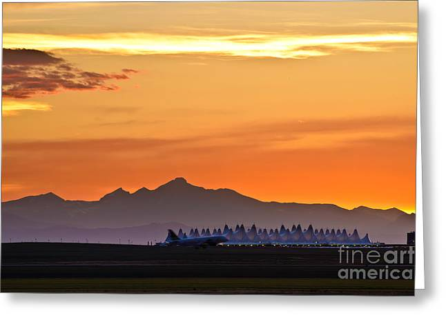 Final Destination Greeting Cards - Denver Internation Airport at Sunset Greeting Card by David Harpe