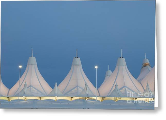 Airports Greeting Cards - Denver International Airport at Dusk Greeting Card by Juli Scalzi