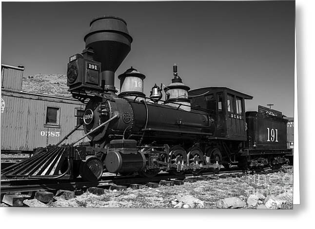 Colorado Railroad Museum Greeting Cards - Denver Leadville and Gunnison 191 black white Greeting Card by Tim Mulina