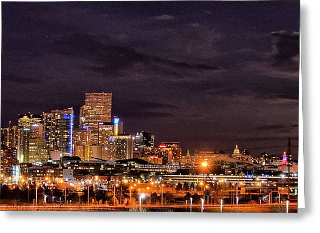 Moonrise Greeting Cards - Denver Moonrise Greeting Card by Sean Kreck