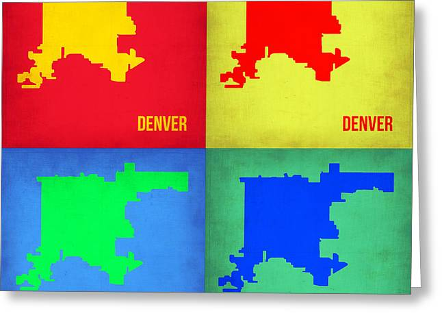 Denver Greeting Cards - Denver Pop Art Map 1 Greeting Card by Naxart Studio