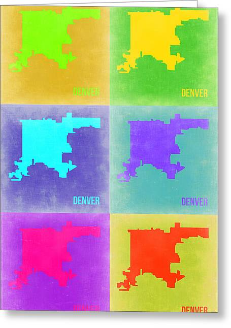 Denver Greeting Cards - Denver Pop Art Map 3 Greeting Card by Naxart Studio