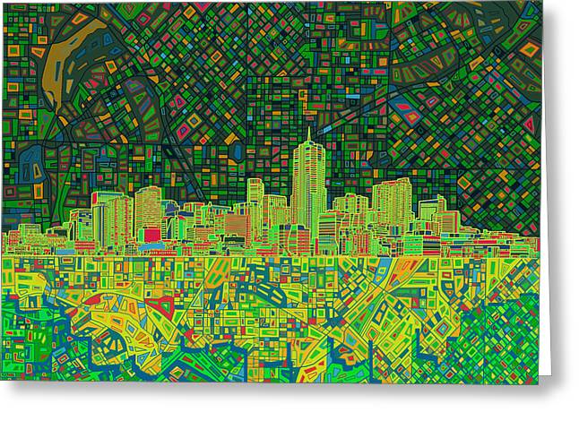 Colorado Posters Greeting Cards - Denver Skyline Abstract 3 Greeting Card by MB Art factory