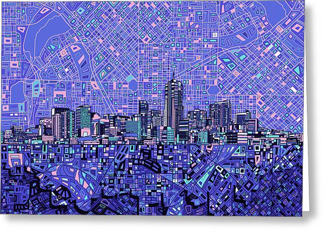 Colorado Posters Greeting Cards - Denver Skyline Abstract 4 Greeting Card by MB Art factory