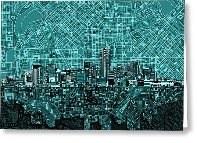 Colorado Posters Greeting Cards - Denver Skyline Abstract 5 Greeting Card by MB Art factory